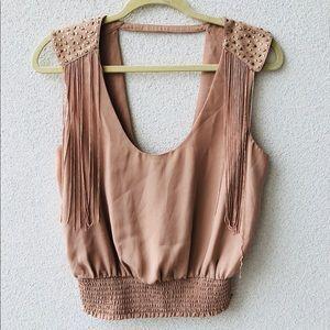 🎂 Bebe beige studded fringe top S
